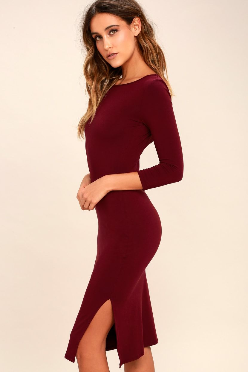 Elegant artistry burgundy bodycon midi dress midi dress