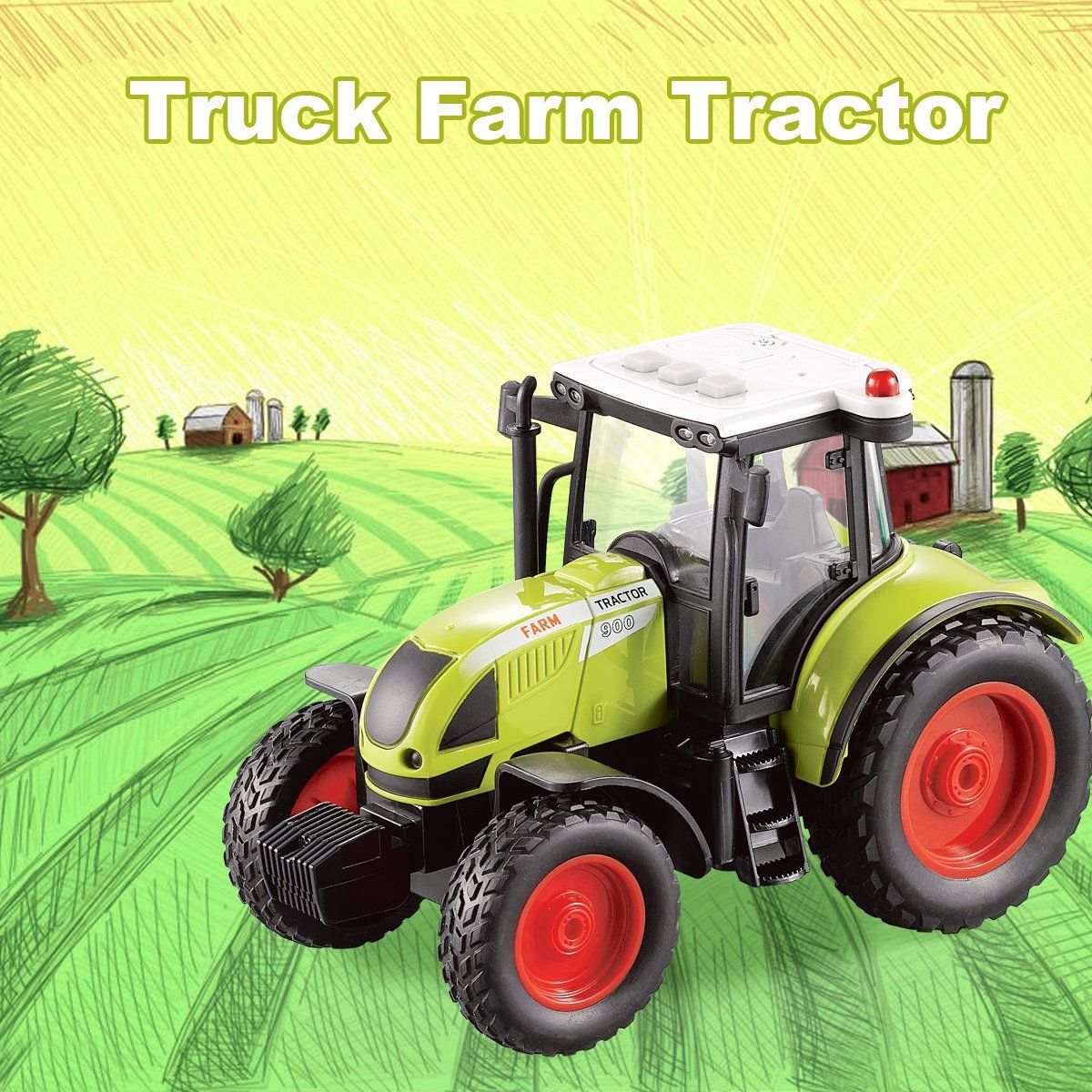 Fistone 1 16 Truck Inertia Farm Tractor Modern Farm Machinery Car Toy Simulation Farmer Tractor Hobby Toys For Kids With Led Light Hobby Toys Kids Toys Toy Car