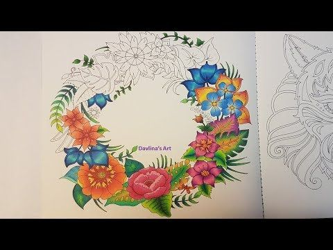 2 Magical Wreath Part 2 Magical Jungle By Johanna Basford Youtube Johanna Basford Coloring Jungle Flowers Coloring Pictures