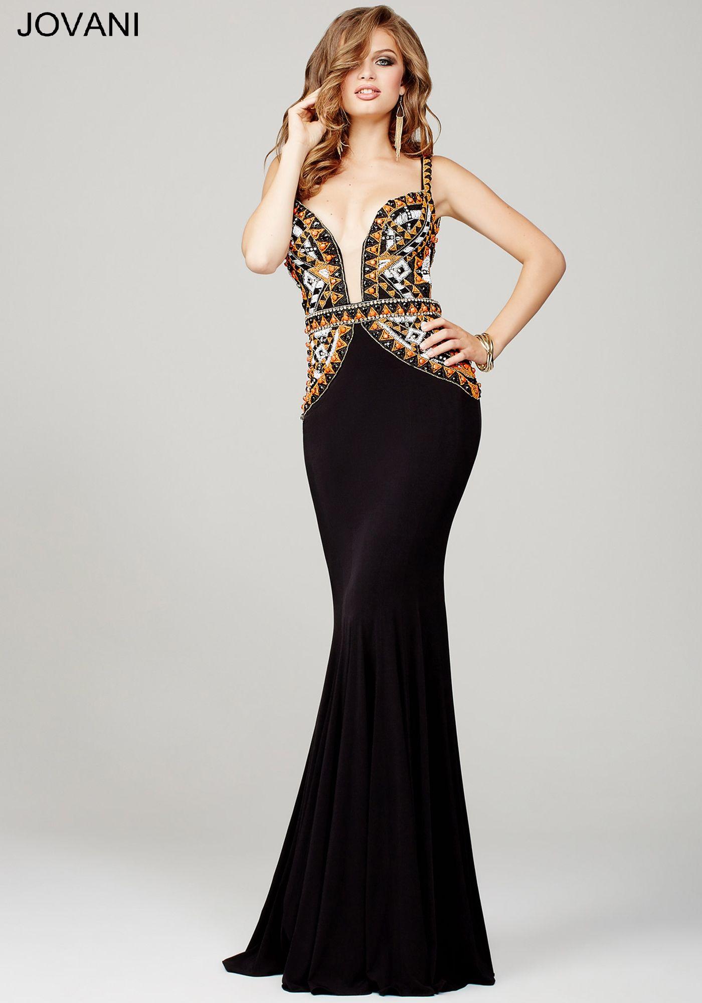 Black/Multi Jersey Prom Dress 35125 | Night Dresses | Pinterest ...