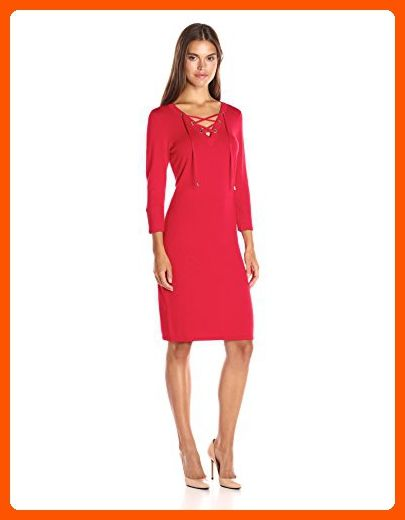 Calvin Klein Womens Lace Up Detail Sweater Dress Red