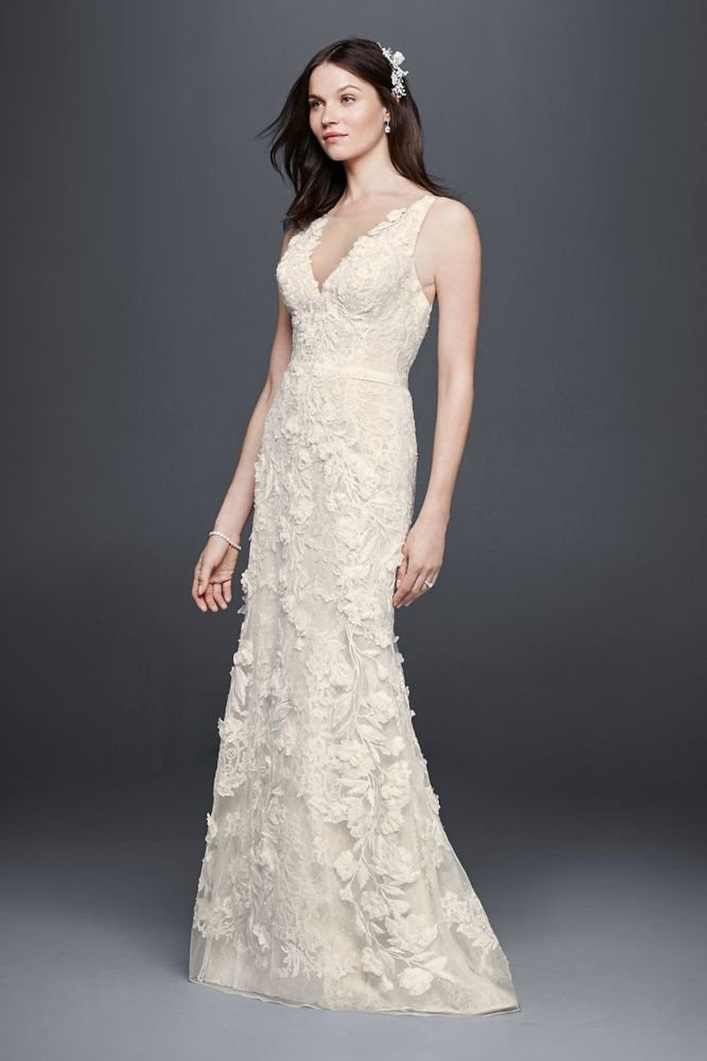 ** Tulle Tank Sheath Wedding Dress with 3D Flowers Style