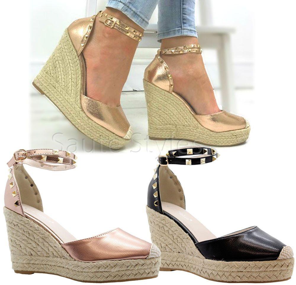 86e4da56f9de Ladies Women High Wedge Stud Espadrilles Platform Ankle Strap Sandals Shoes  Size in Clothes