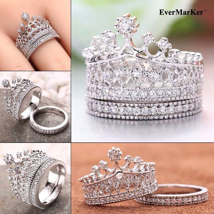 EverMarker Unique crown shape 925 Sterling Silver Ring