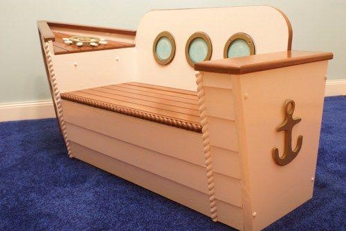 Kids Storage Bench Furniture Toy Box Bedroom Playroom: Children's Boat Bench, Toybox, Nautical, Coastal, Kid's