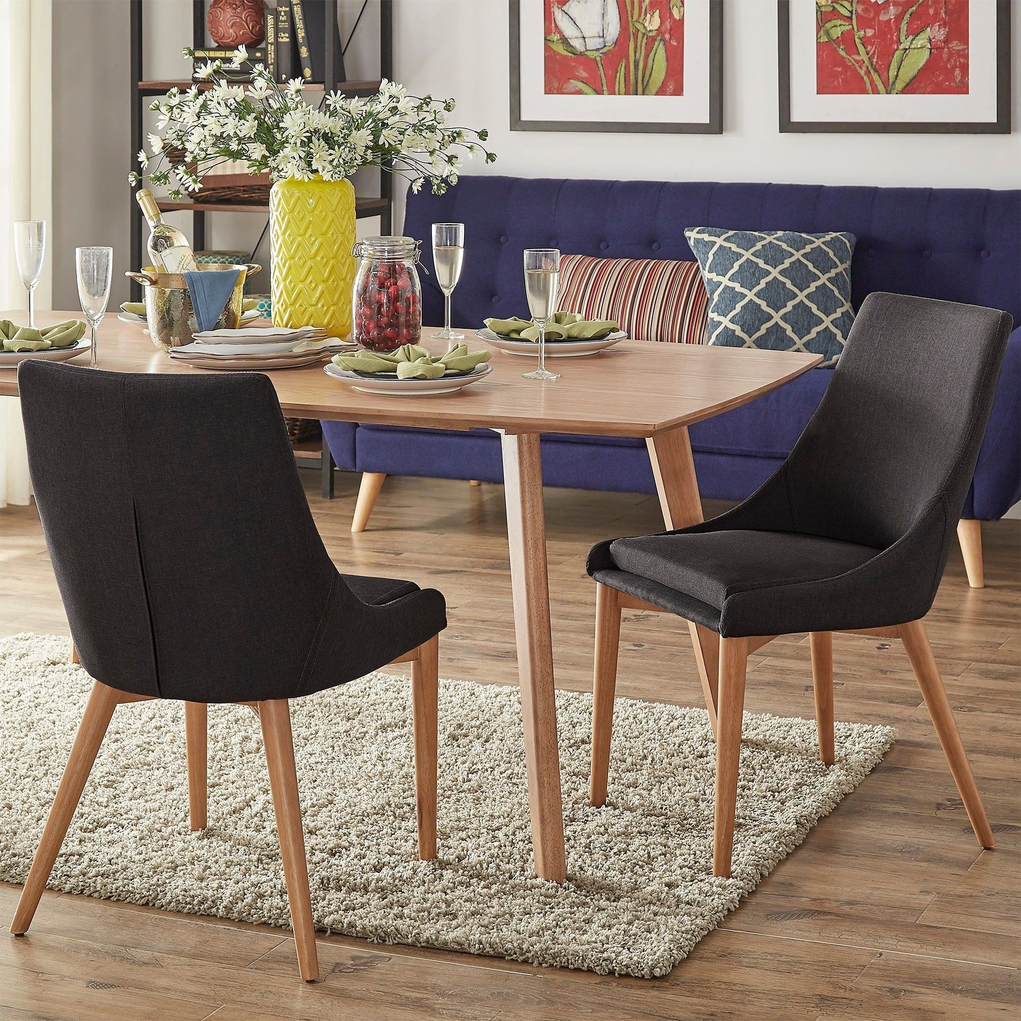 Sasha Oak Barrel Back Dining Chair (Set of 2) iNSPIRE Q Modern (Dark