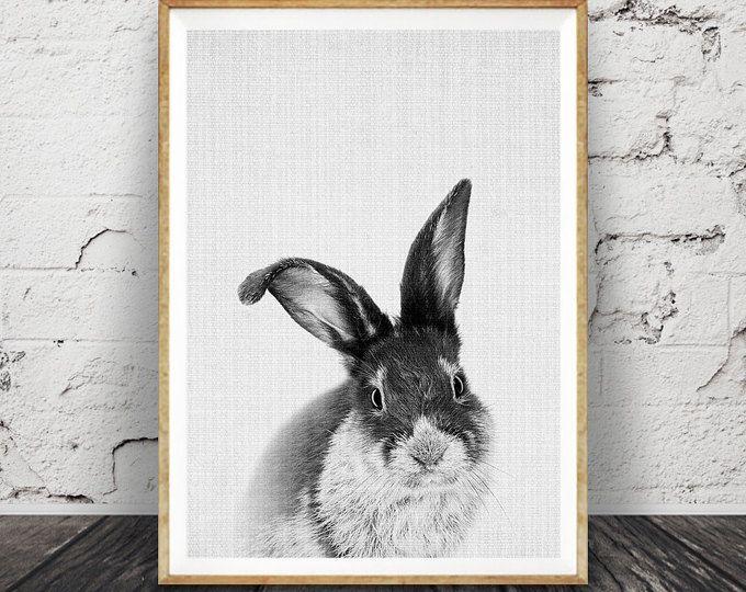 Nursery rabbit print woodlands nursery wall art woodlands animal black and white rabbit
