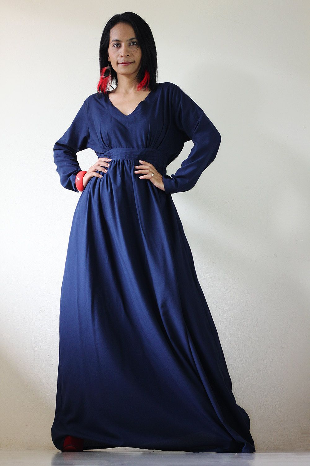 Could be maxi dress navy blue long sleeve dress via etsy