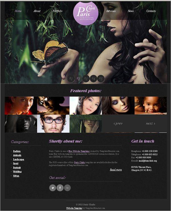 Best Free Online Portfolio Themes For Photographers Pinterest - Photography portfolio website templates free
