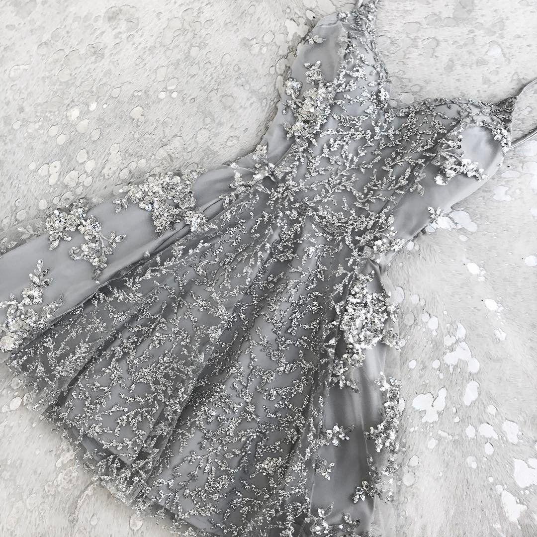 Short Silver Sequin Prom Dress