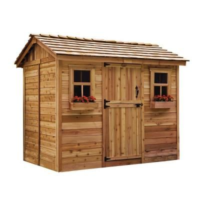 Outdoor Living Today Cabana 6 Ft X 9 Ft Western Red Cedar Garden Shed Cb96 The Home Depot Outdoor Storage Sheds Garden In The Woods Wooden Storage Sheds