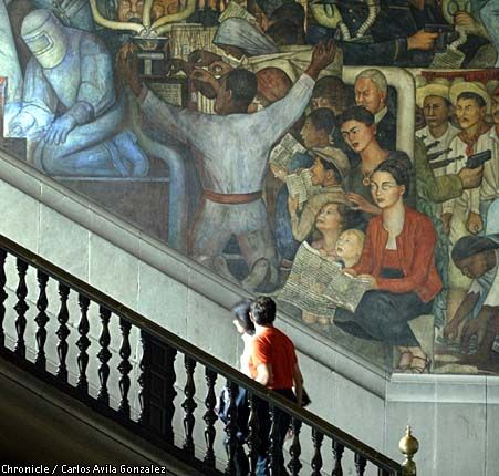 Struggling artists: Frida Kahlo is one among many in a Diego Rivera mural at the Palacio Nacional in Mexico City that promotes his vision for Mexico. Chronicle photo by Carlos Avila Gonzalez