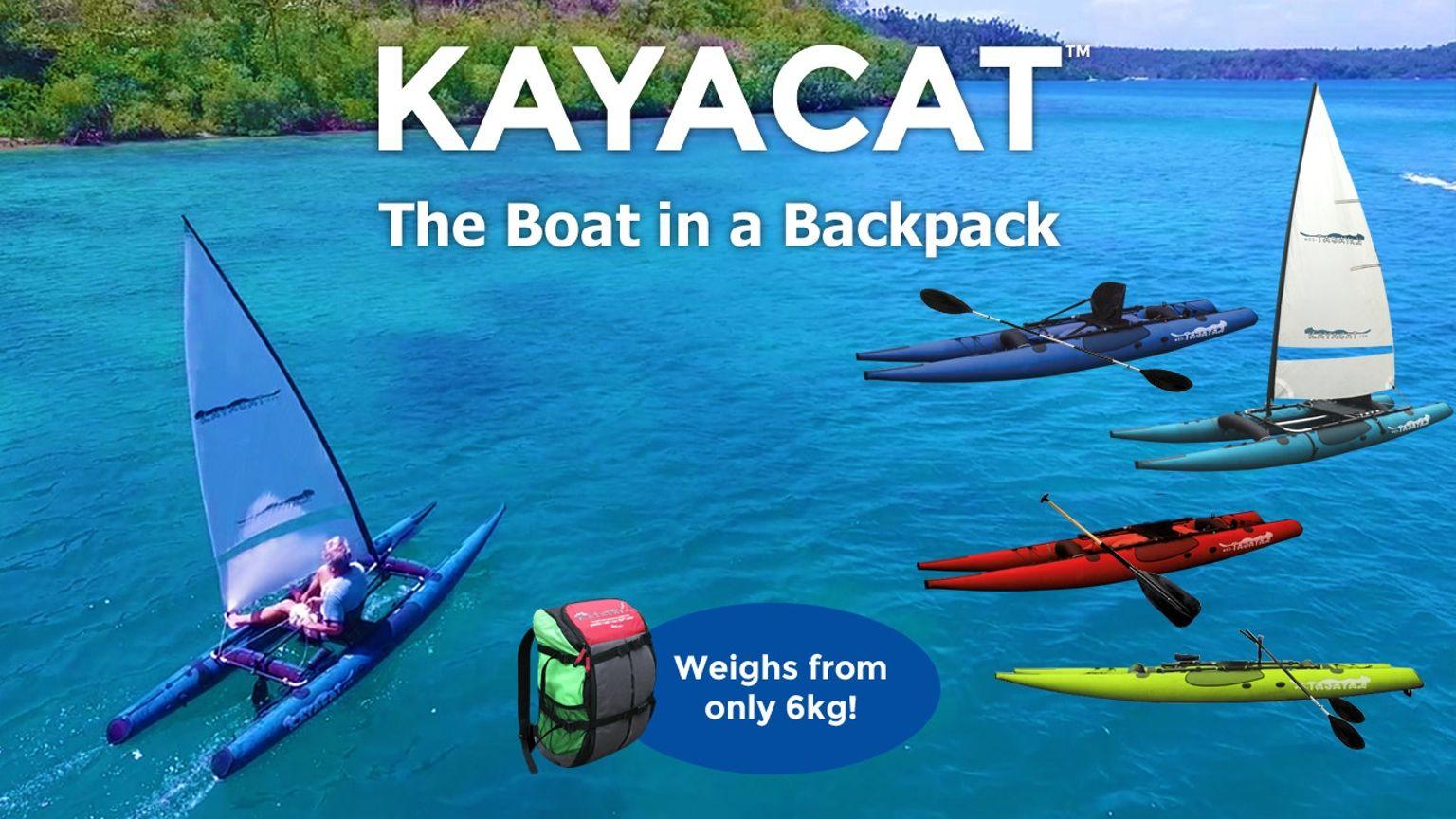 Kayak Sail Sup Row Motor Kayacat The Lightest Most Versatile Multi Mode Compact Personal Watercraft In The World