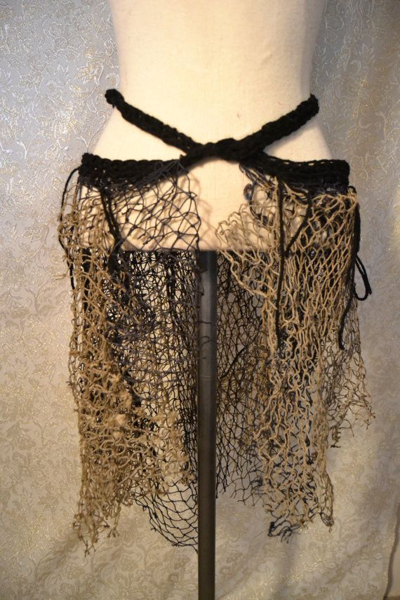 Completely constructed from assortment of netting. each has a crocheted waistband that wraps and ties in the front. can be worn as a skirt, bustle, or a cape. you can dress it up or down depending on