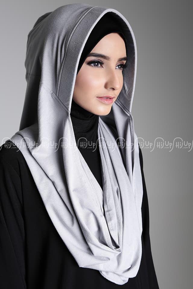 Soft Grey Gaun Hijab Jilbab Turban Kerudung