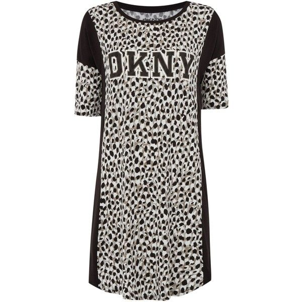 DKNY Animal Print Logo Night Shirt ( 84) ❤ liked on Polyvore featuring  intimates 5e48ddb1c
