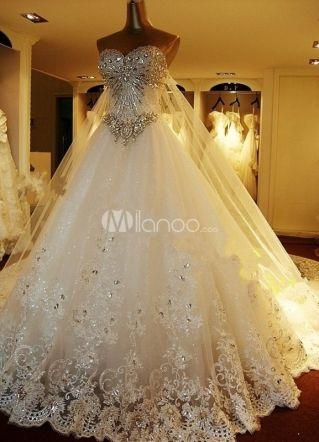 Chiq Glittery White Strapless Applique Organza Wedding Dress For