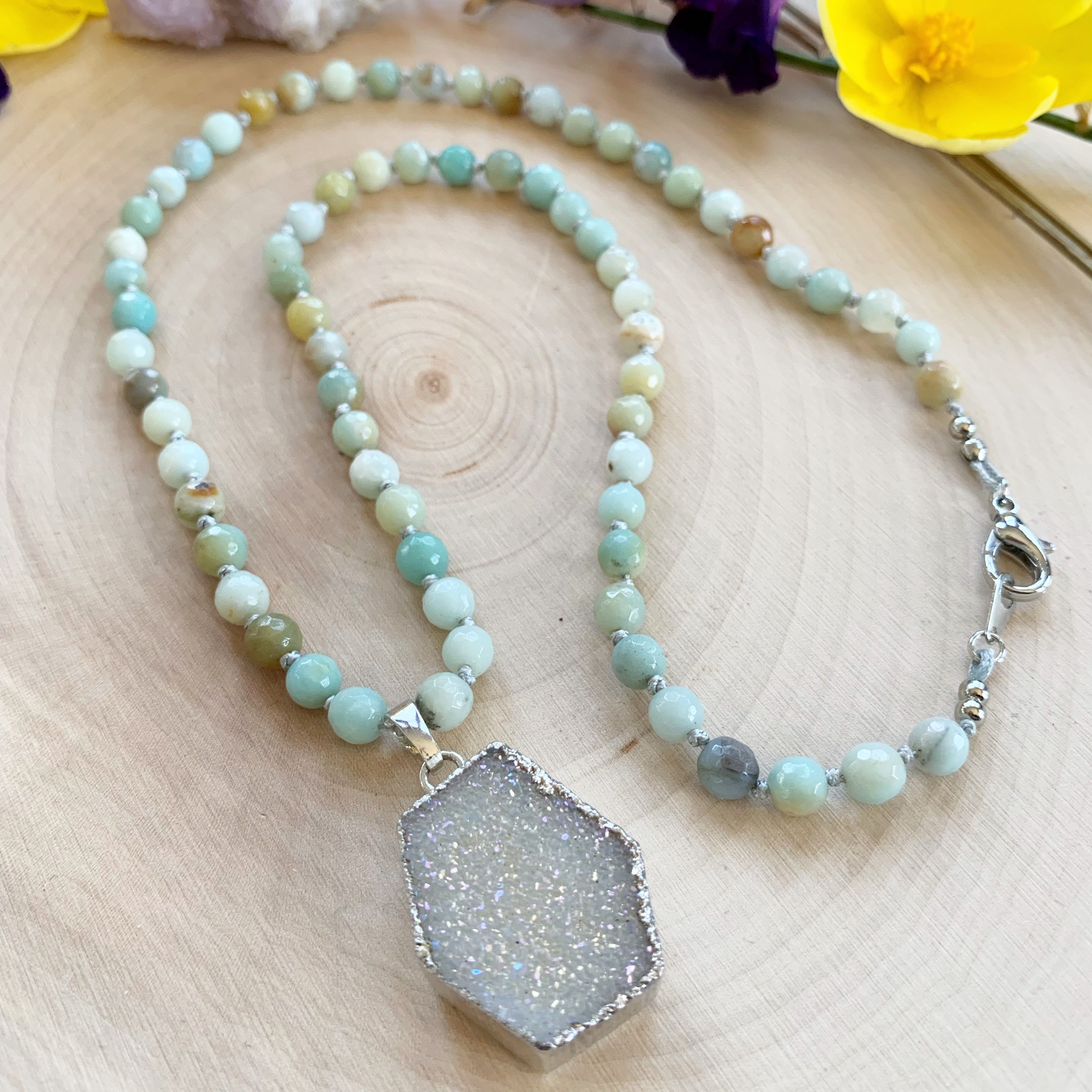 Sparkling Druzy Pendant With Amazonite Gemstones Necklace Raw