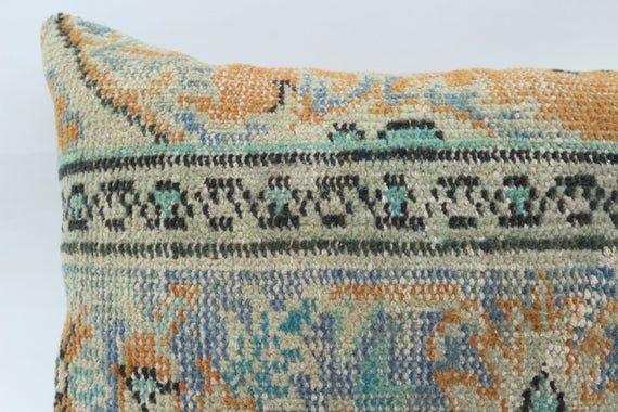 Turkish Rug Pillow, 16x24 Navajo Pillow,Covers Pillow, Blue Pillow, Vintage Pillow, Embroidered Pill