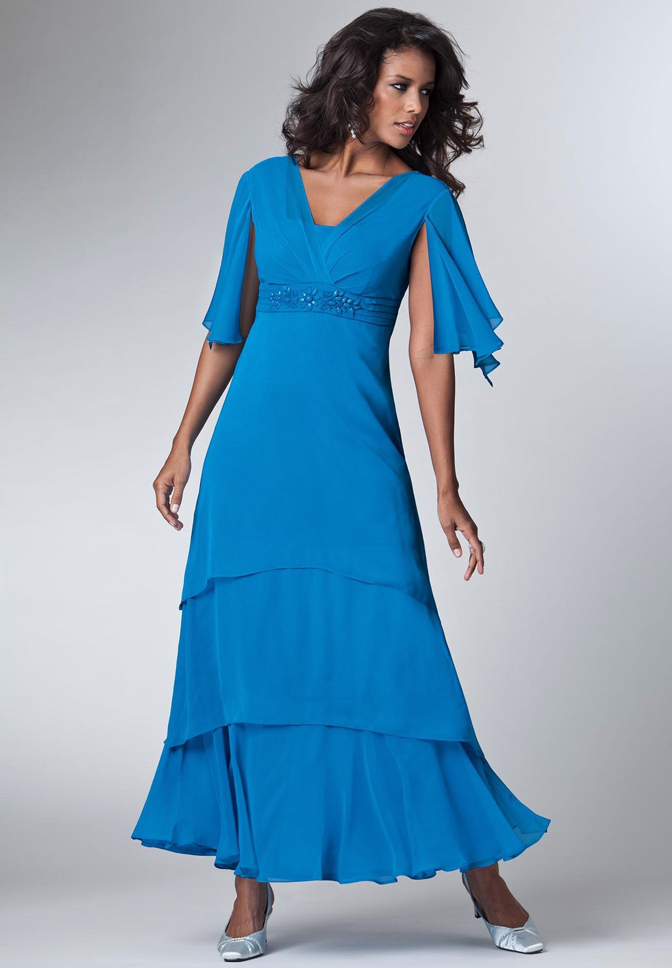 Daughters? Plus Size Solid Tiers Empire Waist Dress | Plus Size Dresses | Roamans