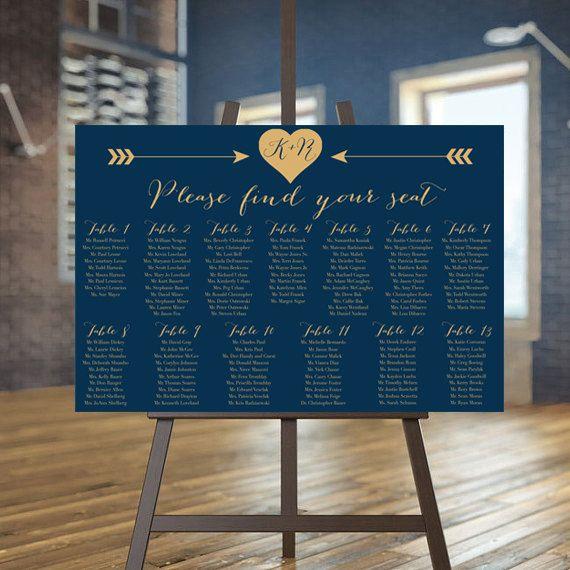 wedding seating chart printable navy guests list printable gold