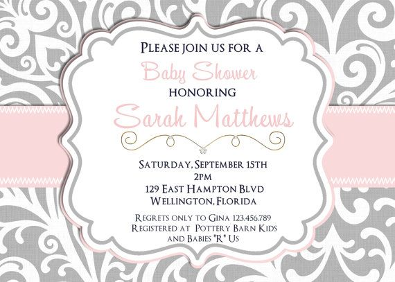 Mod Damask Pink and Gray Baby Shower Invitation Printable Invite