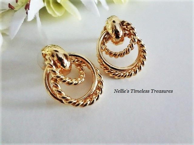 Vintage Avon Gold Hoop Earrings Twisted Rope Earrings Small Hoop
