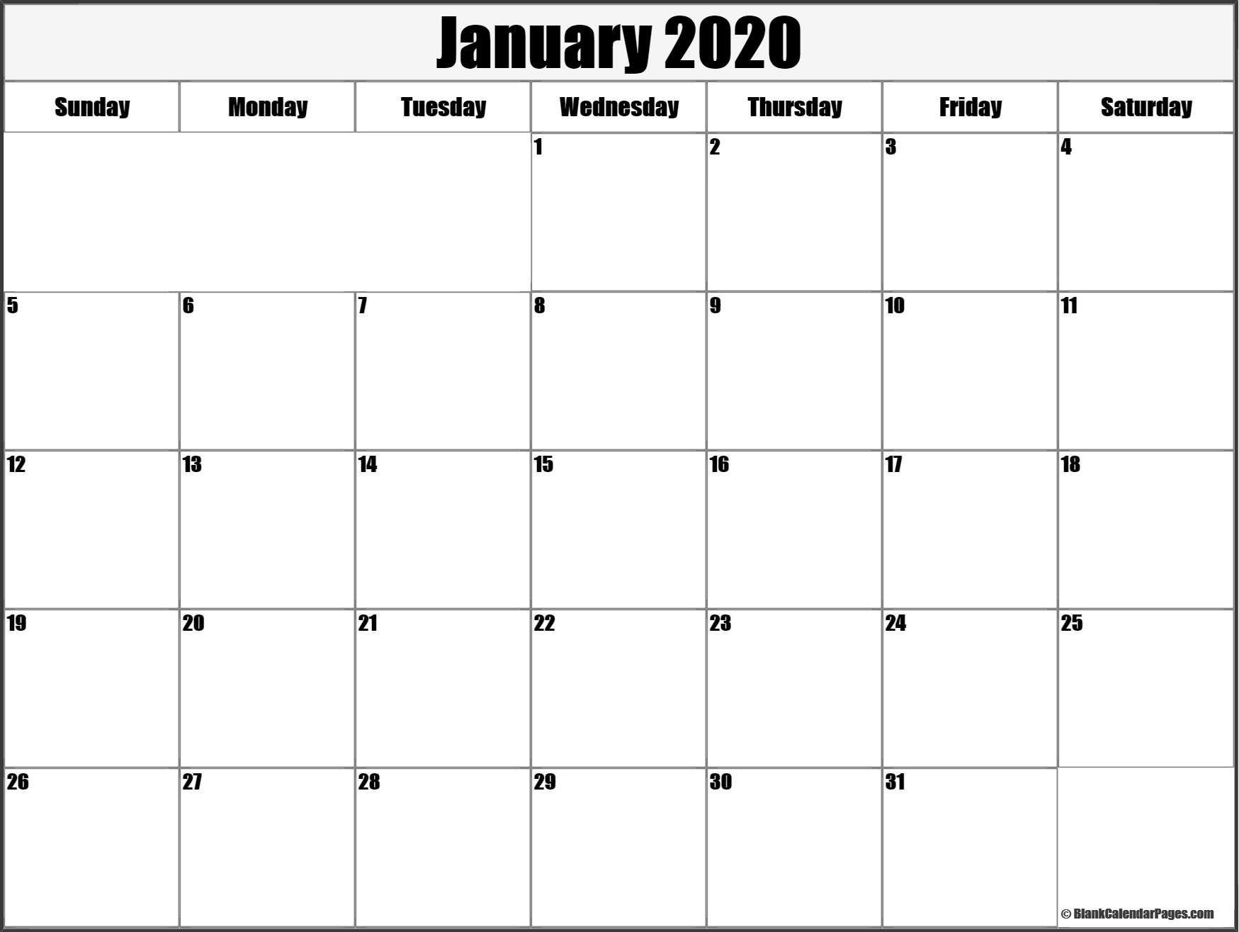 January 2020 Calendar Template january january2020