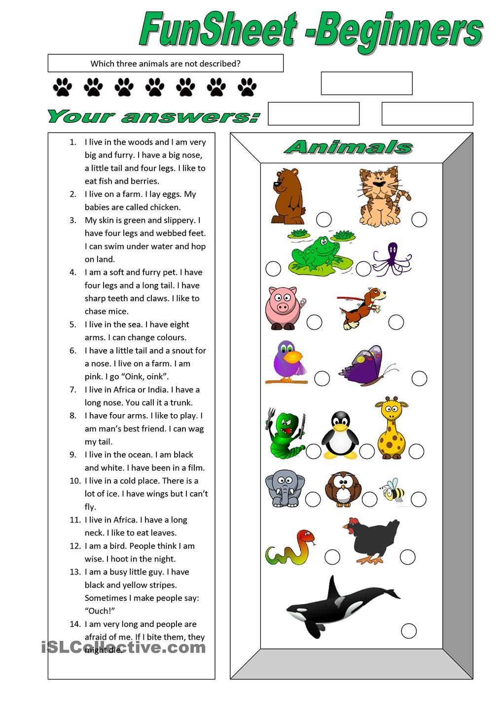 funsheet for beginners animals free esl worksheets. Black Bedroom Furniture Sets. Home Design Ideas