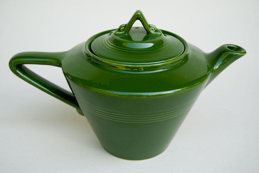 Vintage Harlequin Pottery 50s Forest Green Teapot...