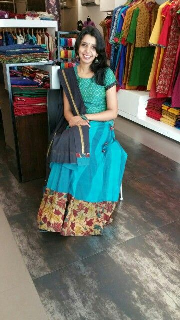 Kalamkari is always a personal favourite. . This skirt makes a roomy wear for trendy hot summers..