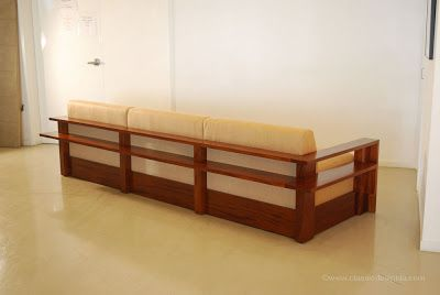 another recently finished project is this sofa its a substantial heavy piece with an exposed wood frame and upper lower shelves - Exposed Wood Frame Sofa