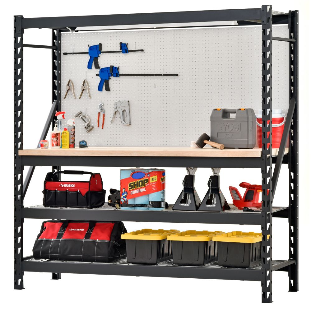 Husky 90 In W X 90 In H X 24 In D 5 Shelf Welded Steel Garage Storage Shelving Unit With Wire Deck In Black Erz902490w 5 Garage Decor Garage Storage Garage Storage Shelves Workbenches