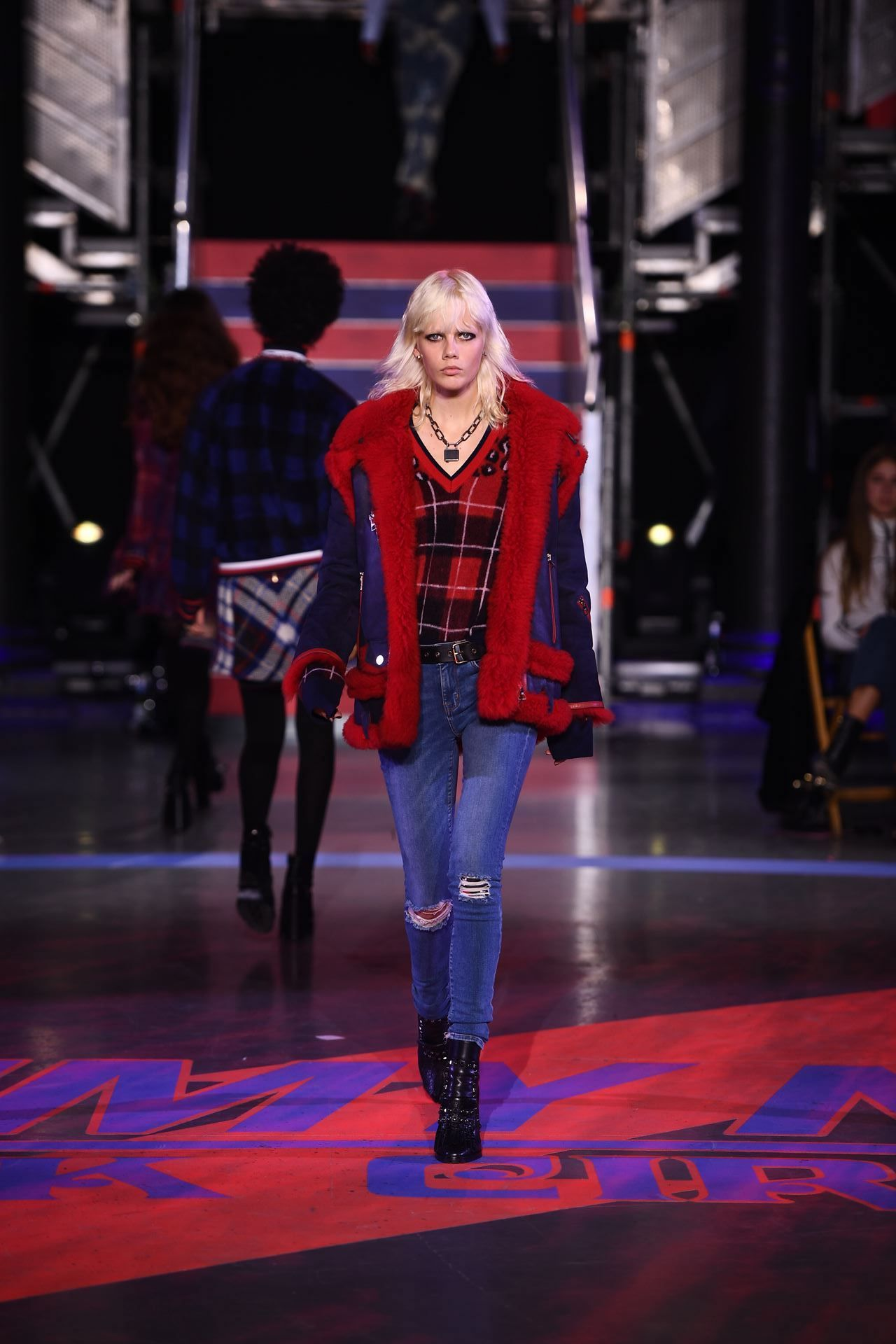 30ab31c9987c7 Marjan Jonkman in the Hilfiger Collection Oversized Shearling Biker Jacket  and the Hilfiger Collection Mohair Blend Tartan Sweater.