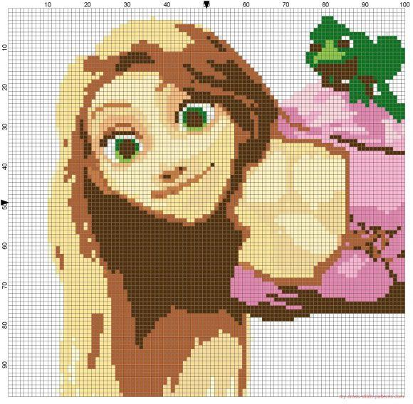 PDF pattern cross stitch pattern Rapunzel lace silhouette cross stitch Rapunzel cross stitch Rapunzel Rapunzel pattern