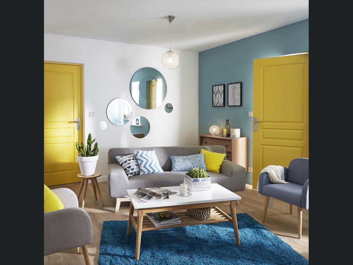 Salon sejour Bleu Jauneorange  Amnagement du salon  Deco salon Living room designs et Home