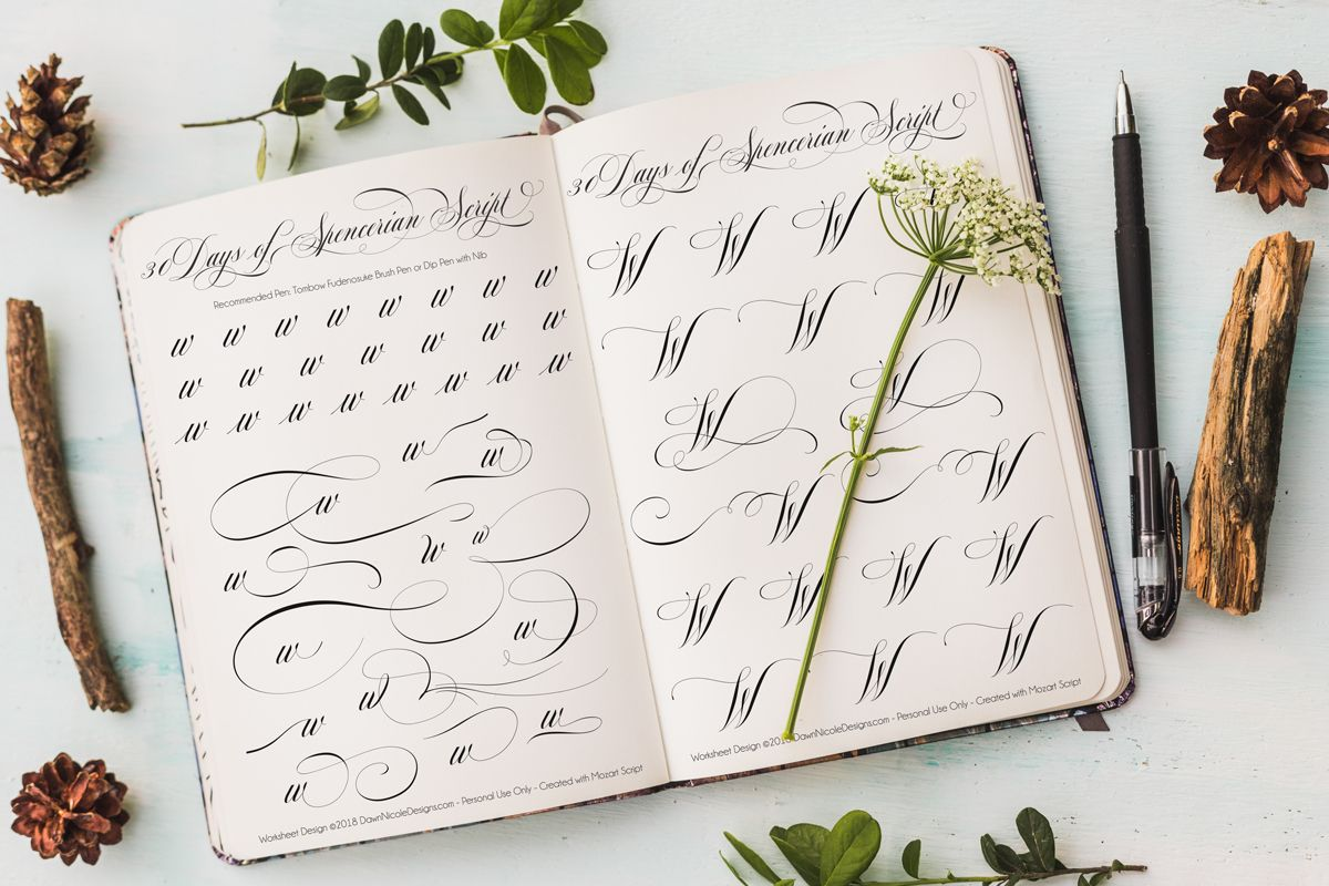 Spencerian Script Style Letter W Worksheets By Dawn