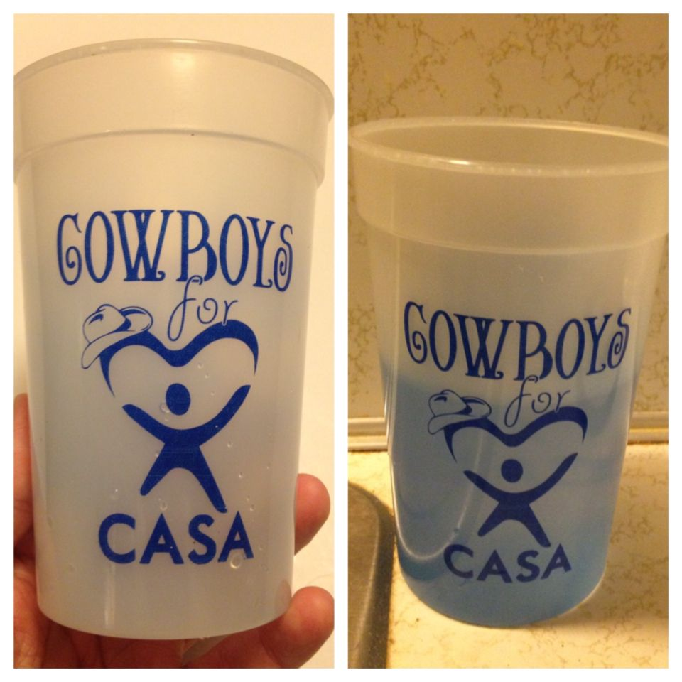 Love these cups that change colors when cold drink is added. What if we got some that change to green for our Evening in the Emerald City? Fun new thing that our guests can take home! Should we use JIS or FCCC logo???