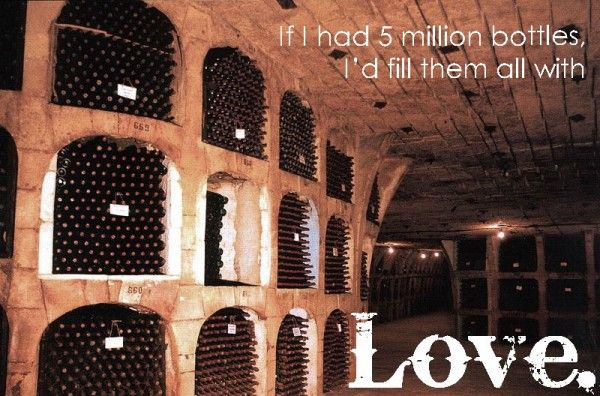 """If I had 5 million bottles, I'd fill them all with love. (This is from """"Mileştii Mici,"""" the world's largest wine cellar located in central Moldova.)"""