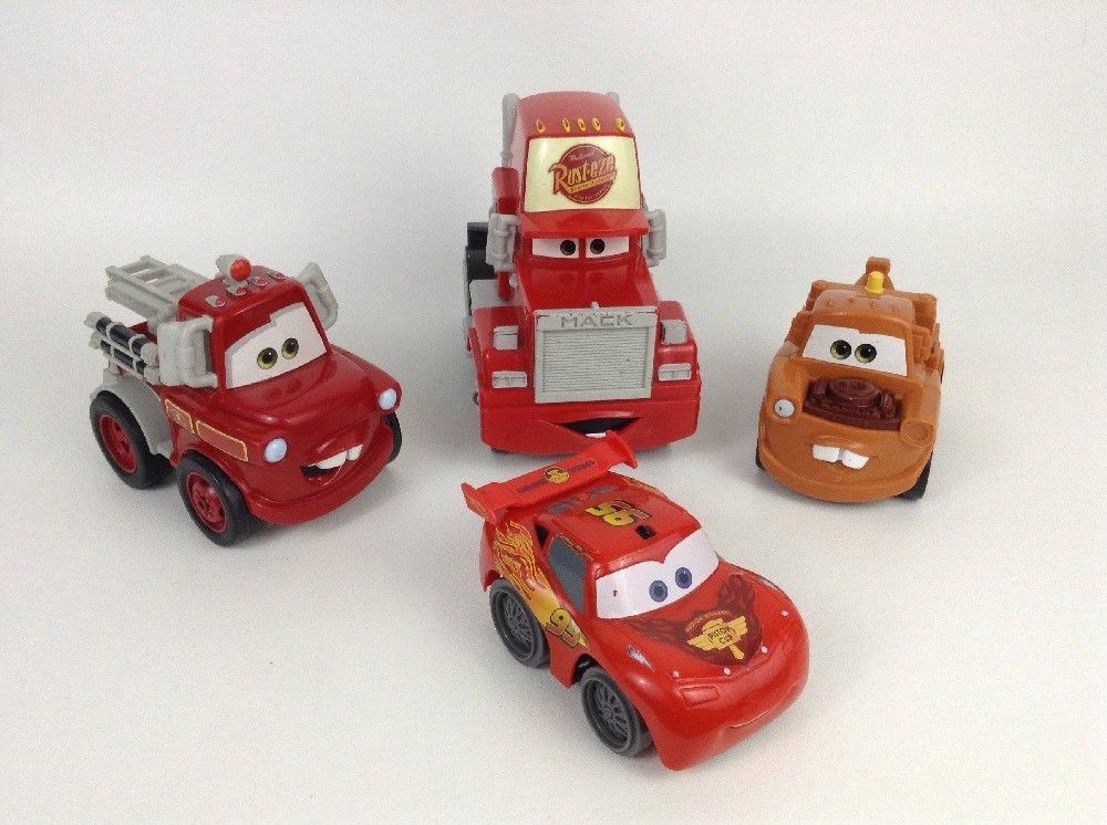 Lot 4 Disney Pixar Cars Lg Plastic Toy Vehicle Lightning Mcqueen