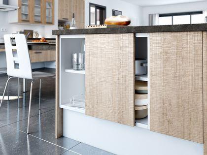 Rangement cuisine les 40 meubles de cuisine pleins d 39 astuces pinterest porte coulissante - Rail armoire coulissante ...