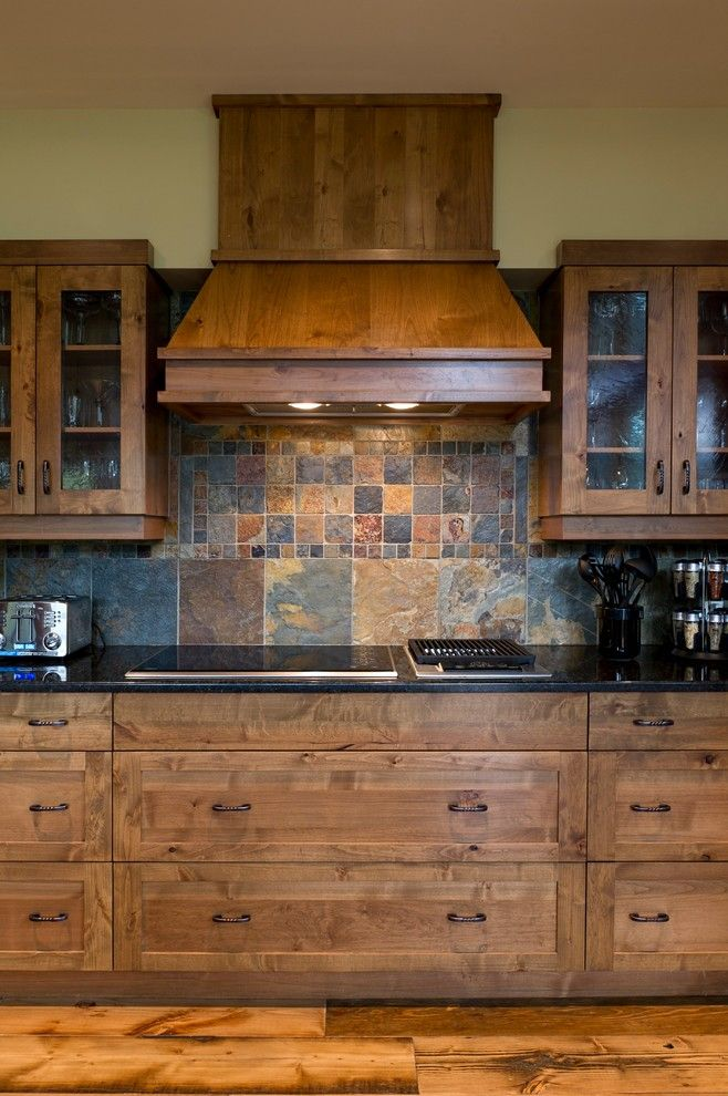 Slate Tile Backsplash Kitchen Traditional With Alder