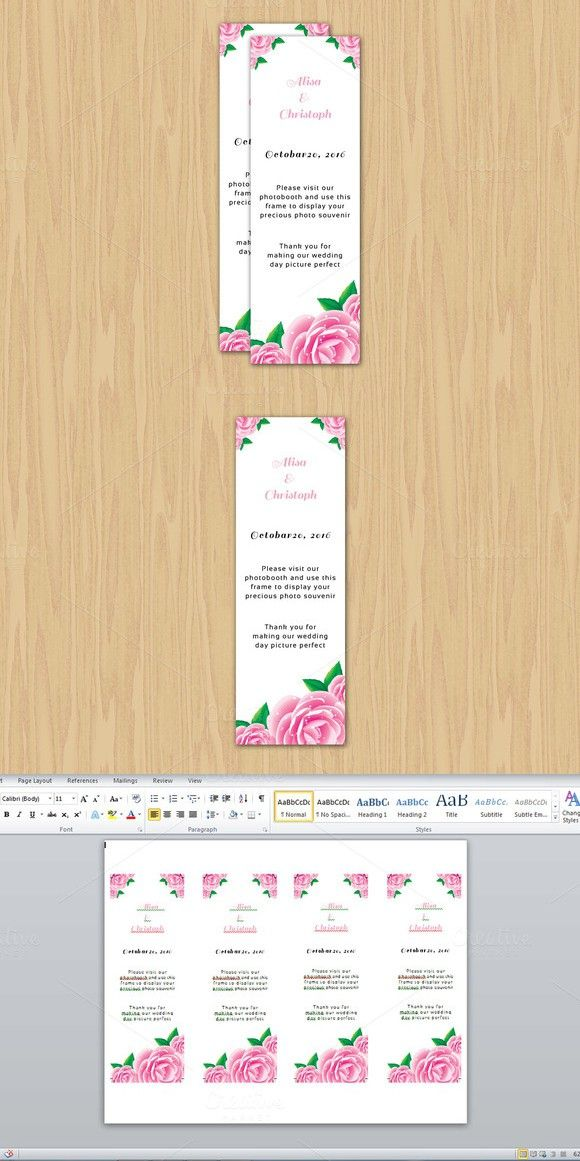 Photo Booth Place Card Template. Creative Card Templates. $6.00 ...