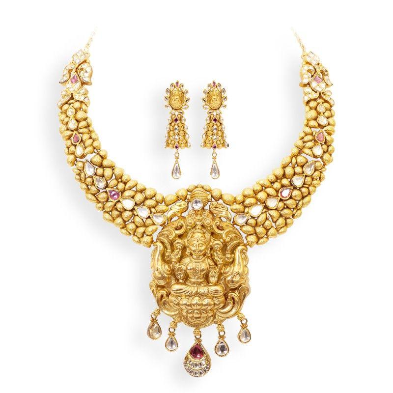 Lakshmi Pendant Gold Necklace set | Jewelry| Antique|Traditiona ...