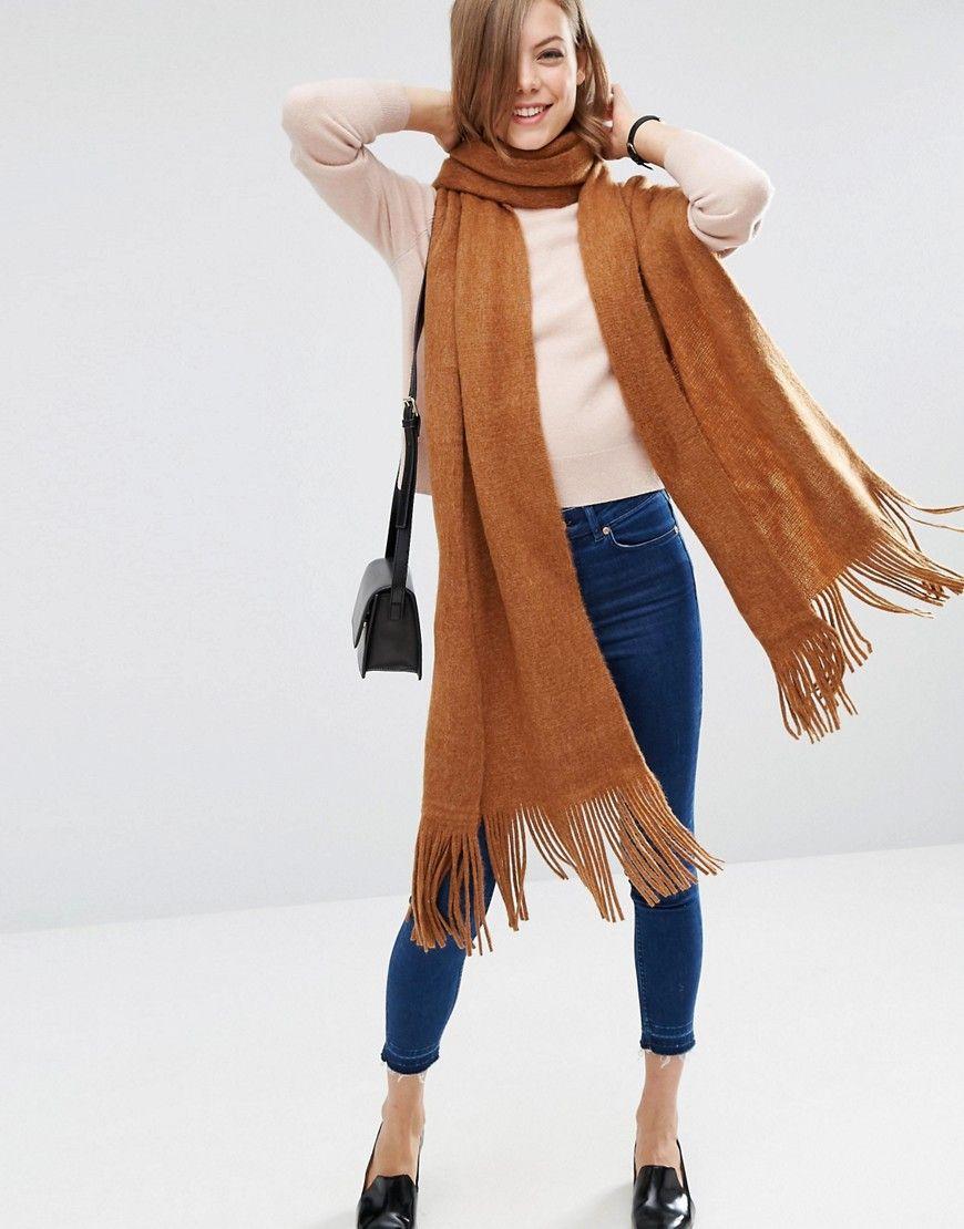 Écharpe longue à franges en tricot ultra doux   Pinterest   Franges ... 02c5ff0db303