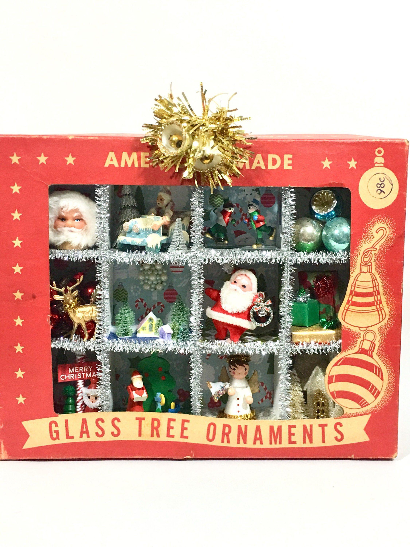 Kitschy Christmas Shadow Box Vintage Shiny Brite Glass Christmas ...