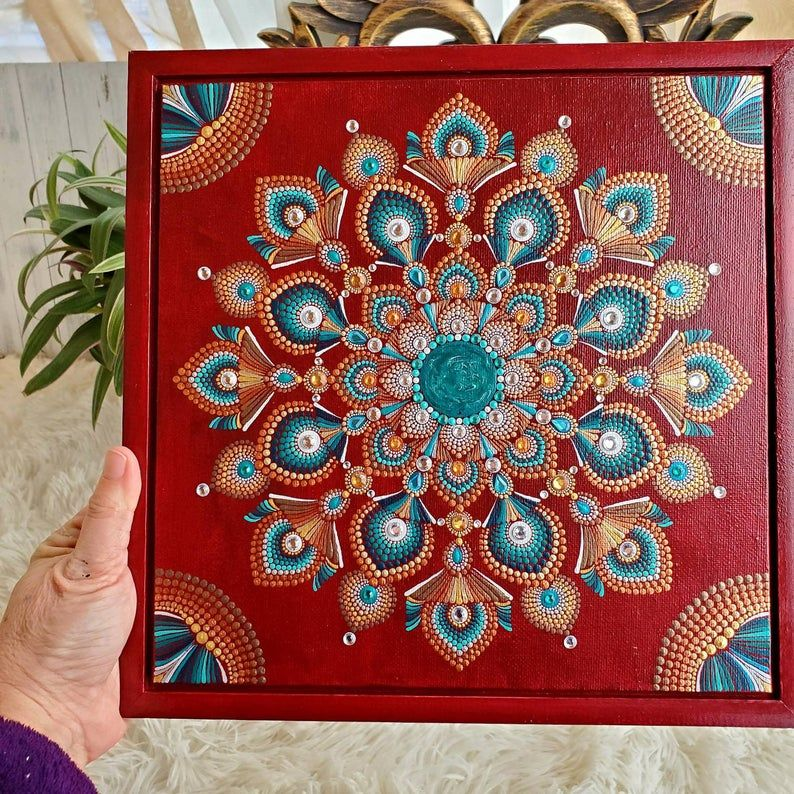 Mandala Painting 11 Inch Square On Canvas And Wood Frame Embellished With Rhinestones Sacred Geometry Art Dot Painted Mandala With Bling Sacred Geometry Art Mandala Painting Geometry Art
