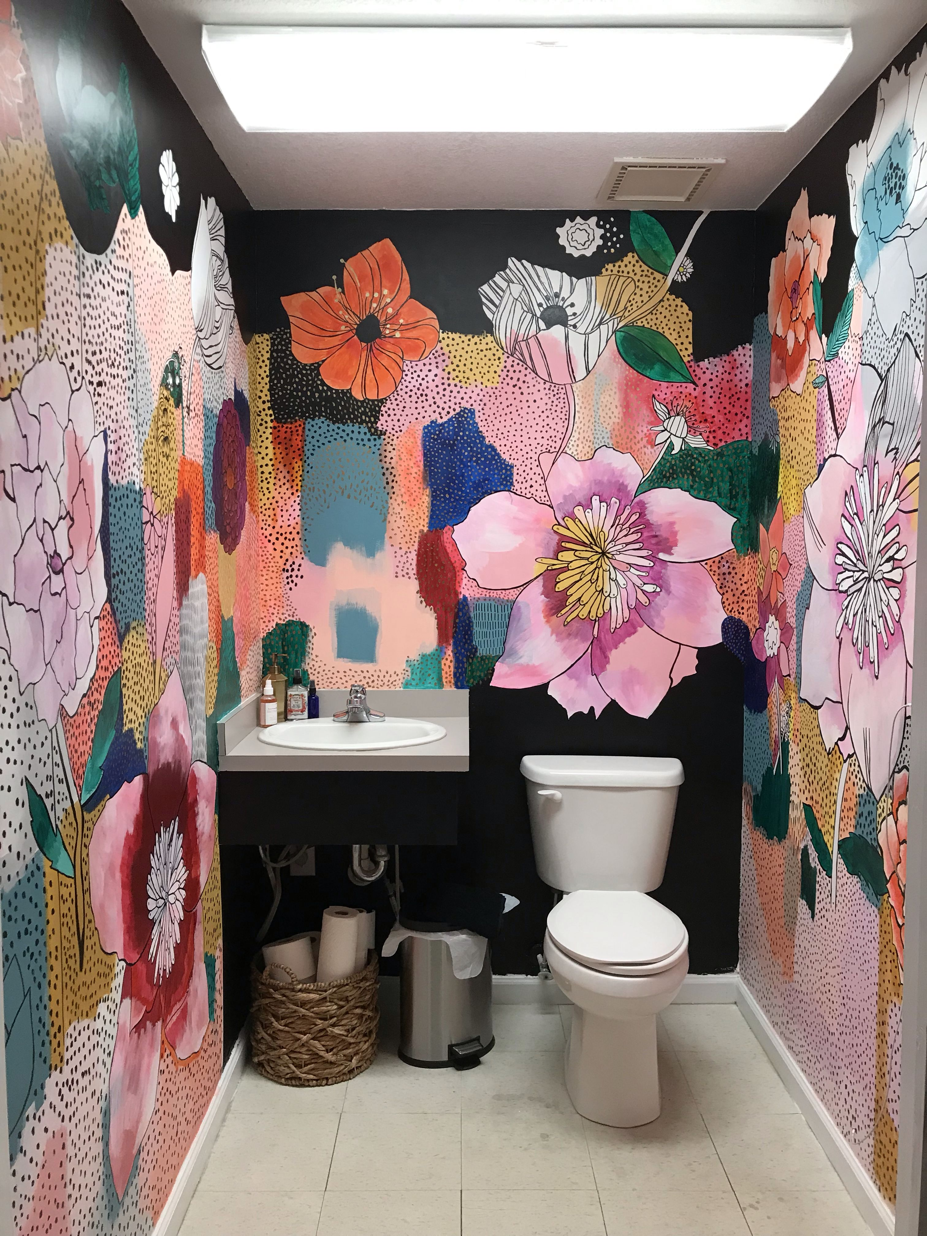 Floral Mural In Bathroom Bathroom Mural Wall Painting Decor Bathroom Decor