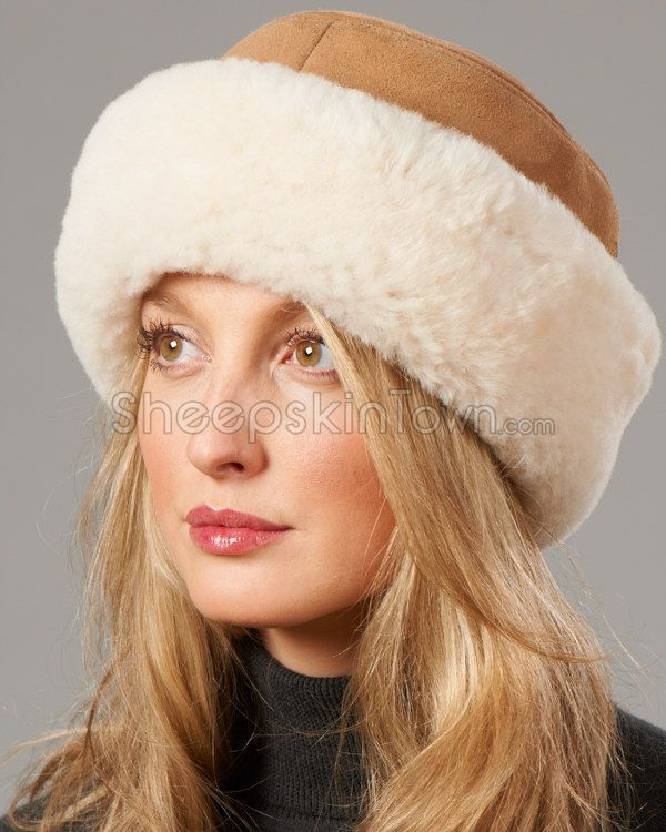 ade6d748173 Camel Shearling Sheepskin Cuff Hat - Camel
