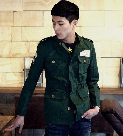 korean men military slim jacket discount mens wool pea coat